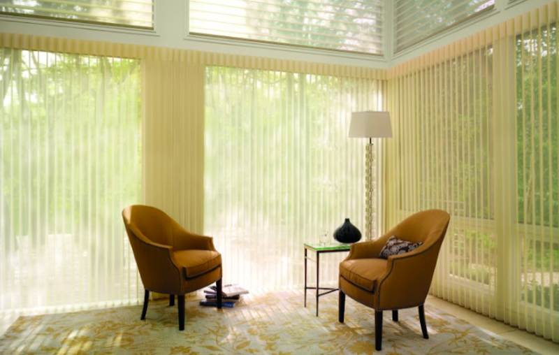 Perfect for large windows and sliding glass doors. Luminette privacy sheers, allows customizability with color coordinating fabrics to pair with Silhoeutte, Luminette, and Vignette (Roman Shades).